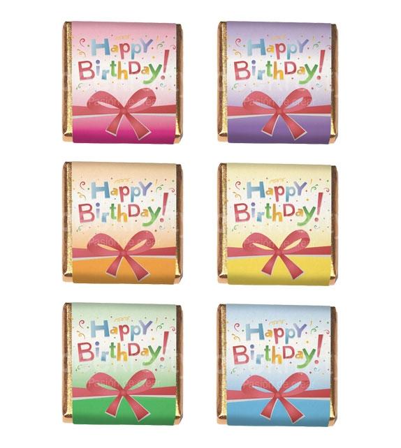 18 Mini xocolates de Happy Birthday