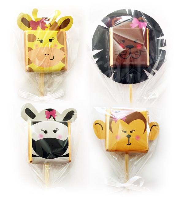 lollipop chocolates of jungle animals