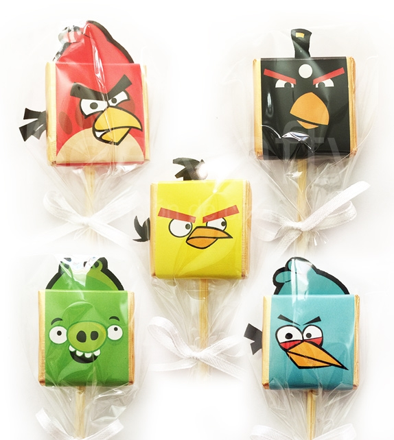 16 mixed lollipop chocolates of Angry Birds