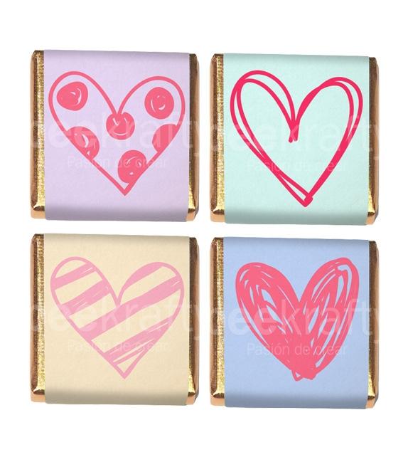 18 Minichocos variados de corazón