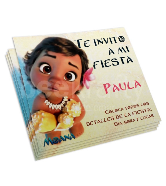 Moana baby Invitations