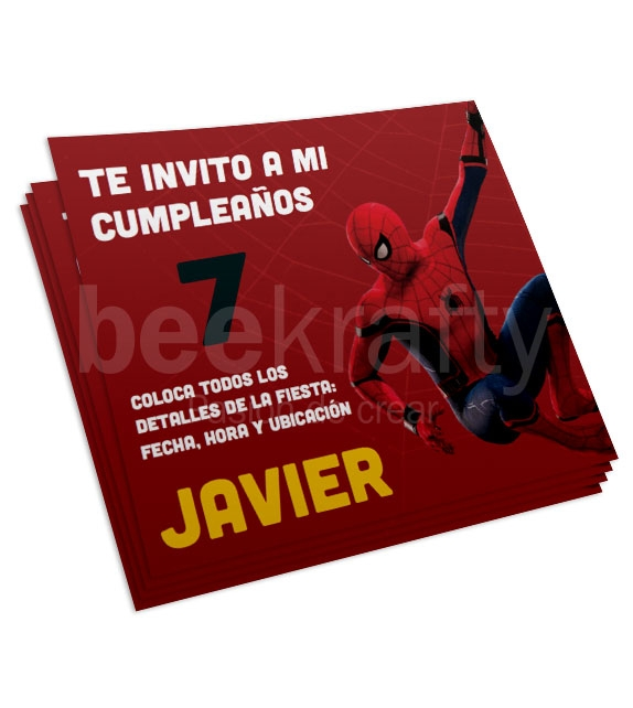 Invitaciones de Spiderman rojo
