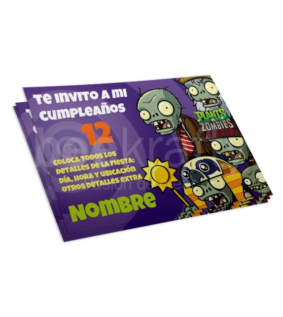 Invitaciones de Plant Vs Zombies